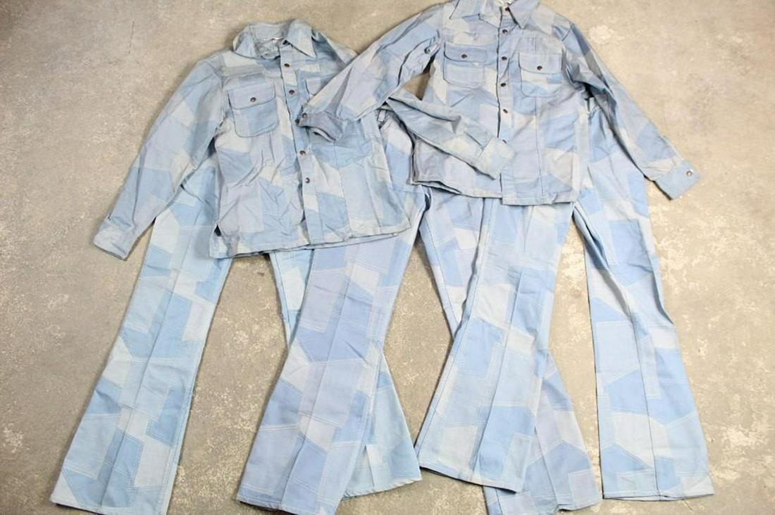 Set Denim Patchwork Suits/Outfits,Deadstock,Pants,Shirt