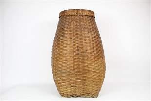 Antique Tall Woven Large Splint Feather Basket w/ Lid