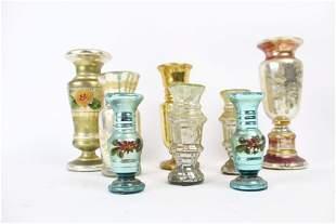 8 Antique Mercury Glass Vases w/ Hand Painted Flowers