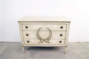 Antique Painted & Stenciled Wood Chest Drawers Dresser