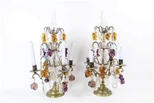 Pair of Antique Crystal Glass Fruit Brass Candelabras