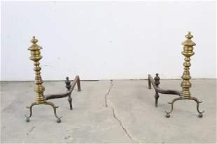 Pair of Antique 19thC Tall Brass & Iron Andirons