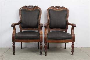 Pair Victorian Upholstered Carved Armchair Chairs