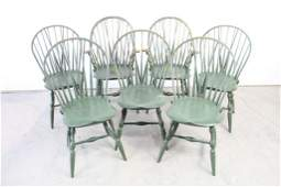 Set of 7 Antique Original Green Painted Windsor Chairs