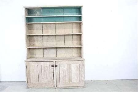 Large Painted White Wood Stepback Cupboard, Farm House