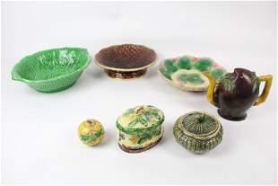 Lot 7 Majolica Pottery Bowls,Teapot,Covered Dish,Bunny