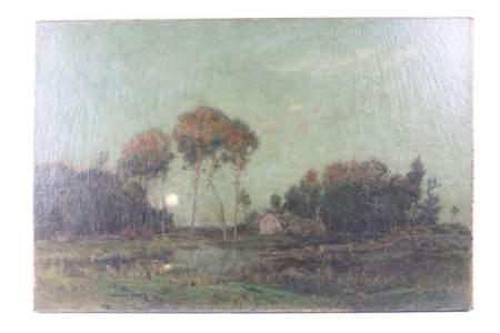 Antique Oil Landscape Painting,Full Moon, Richard Pauli