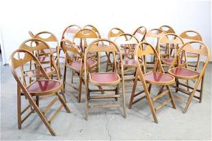 Set of 18 Wood Folding Chairs w/ Canvas Cases