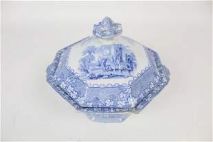 Antique 19th c John Alcock Blue Transferware Lid Tureen