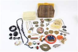 Lot of Costume Jewelry, Bakelite Purse,Nouveau, Pins