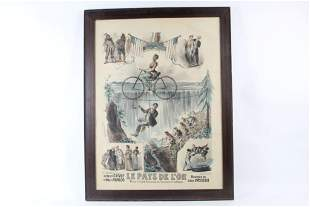 Framed French Bicycle Poster Lemercier Le Pays de L'Or