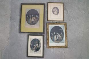 Lot of 4 Framed Antique Lithograph Engraving Prints