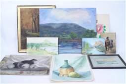Lot of 12 Watercolor, Oil, Pastel Paintings, Naive Art