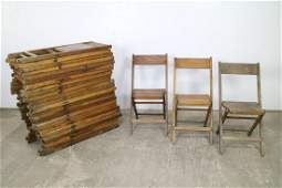 Set of 28 Stackable Antique Wooden Folding Chairs