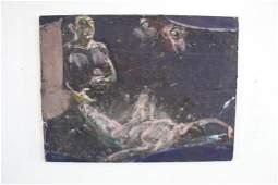 1973 Paul Savitt Surreal Painting Man & Woman on Pants