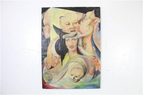 Surreal Painting on Canvas of 10+ Faces Signed PFC 1962