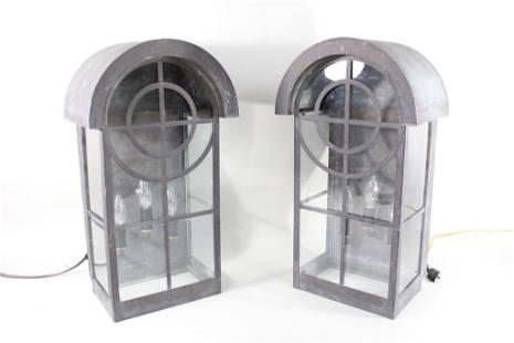 Pair Glass & Metal Outdoor Farmhouse Lantern Sconces