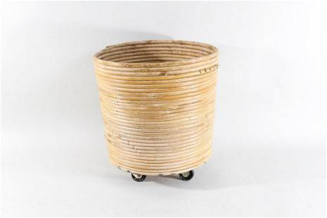 Mid-century Modern Bamboo Split Reed Trash Can,Made in