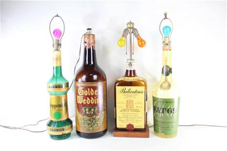 Lot 4 Oversized Store Display Liquor Bottle Lamps
