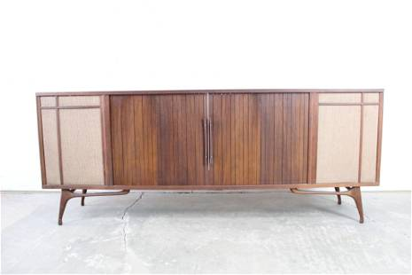 Mid-Century Modern Wood Stereo Media Console Cabinet