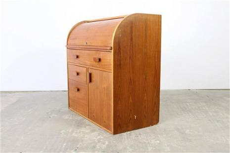 Mid-Century Modern Teak Tambour Roll Top Secretary Desk