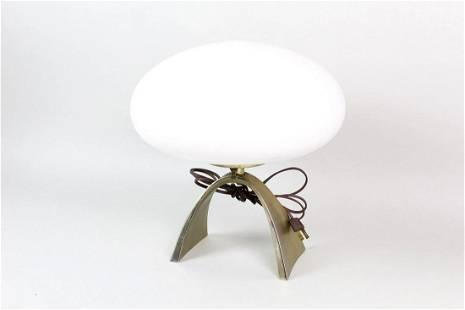 Mid-Century Modern Brass Laurel Mushroom Arch Lamp