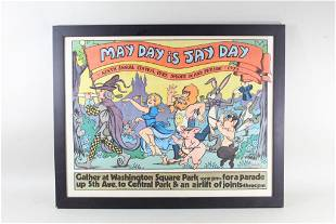 Framed May Day is Jay Day 1976 Bugs Bramley NYC Poster