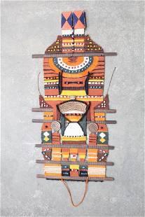 70s Mid-Century Modern Woven Wool Mixed Media Wall Art