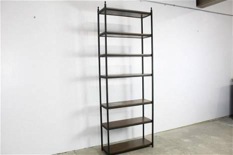 Modern Iron & Wood 7 Ft Tall Display Book Shelf