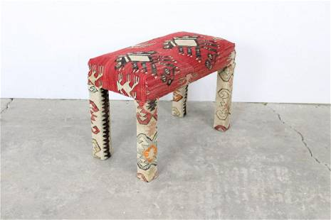 Red Wool Kilim Upholstered Bench, Ottoman, Footstool