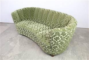 Vintage Green Curved Floral Upholstered Lounge Sofa