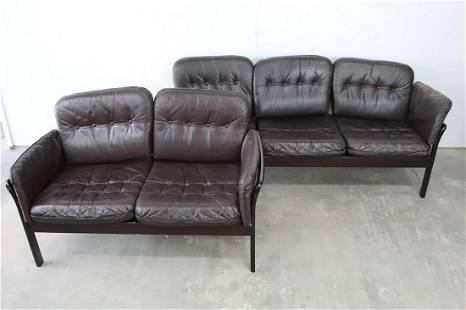 Set of Mid-Century Modern Leather Caned Loveseat & Sofa