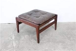 Mid-Century Modern Jens Risom Leather & Wood Ottoman