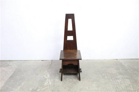 Tall Back Oak Arts & Crafts Chair w/ Visible Joinery
