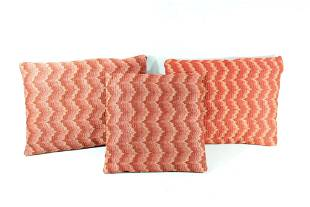 3 Red Modern Sofa Throw Embroidered Zig-Zag Pillows