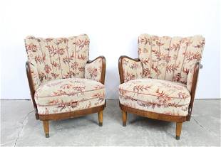 Pair of Danish Tan & Red Floral Upholstered Armchairs