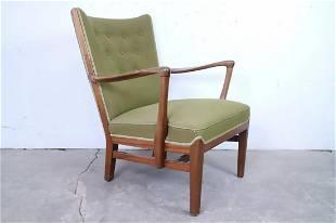 Danish Mid-Century Modern Olive Wood Wingback Armchair