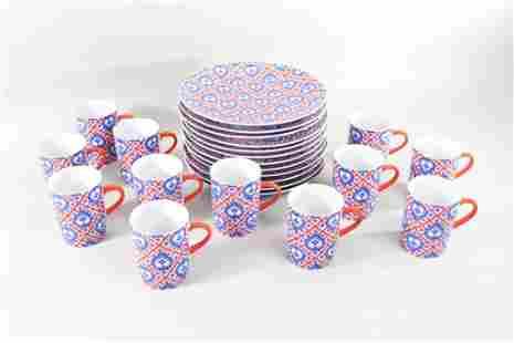 24 Taste Setter Blue Hearts & Red Stripe Plates & Mugs