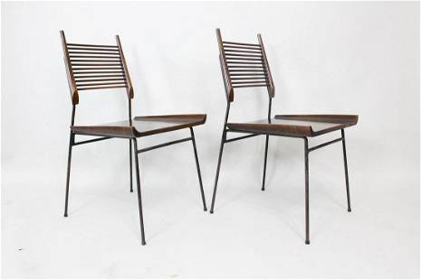 Pair Mid-Century Modern Paul McCobb Iron Shovel Chairs