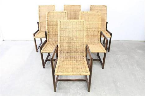 Set of 6 Mid-Century Modern Wicker Dining Room Chairs