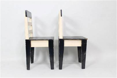 Pair of Bauhaus Style Black & White Wood Side Chairs
