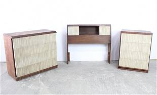 Mid-Century Modern 3 Piece Wood/White Twin Bedroom Set