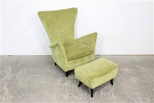 Postmodern Wingback Light Green Chair & Ottoman,Modern