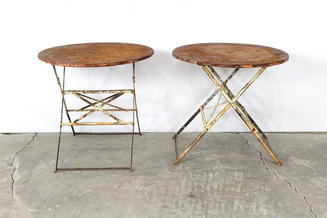 Pair Modern Round Metal Folding Outdoor Bistro Tables