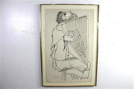 Framed Ben Shahn Limited Edition Lithograph Print Harp