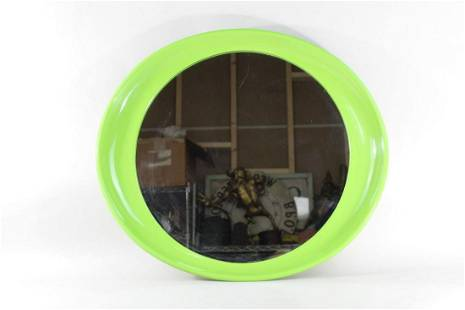 Modern Lime Green Round Plastic 1970s Mirror,Pop-Art