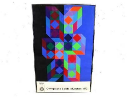 V. Vasarely 1972 Munich Olympics Op Art Poster