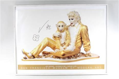 Signed Jeff Koons SFMoMA Poster, Michael Jackson Statue