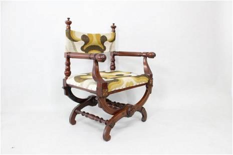 Antique Eastlake Victorian Curule Chair w/Modern Fabric