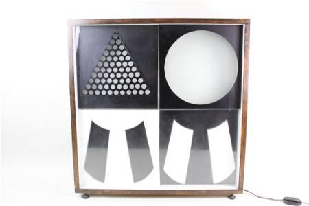 Mid-Century Modern Black & White Geometric Light Art